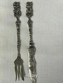 10 Pieces Vintage 800 Silver Fork/Knife Flatware Ornate Couple Handle 226G