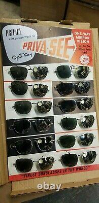 12 Pairs of Vintage Privacy Opta-Ray Sunglasses One Way Mirror Vision Display