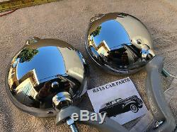 12 Volt Small Clear Vintage Style Fog Lights With Fog Cap And Pair Gray Bracks