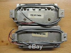 1990 Paul Reed Smith HFS and Vintage Bass Pickups Set Pair Silver Baseplates