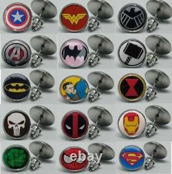 1 X Pair Superhero Cartoon Comic Logo Steel Stud Earrings Jewellery Ear Ring