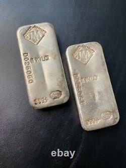 2 Consecutive Rare Vintage Kilo Silver Bar Johnson Matthey JM 999 Canada Pair #D