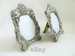 2 Vintage 4.75 Ornate Floral Gorham Silver Picture Frame Repousse Easel Pair