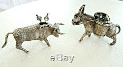 2 Vintage Sterling Silver Toothpick Match Holder Miniature Donkey Bull 925 Pair