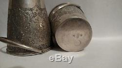 2 Vintage pair of decorated buckets with swing handles Persian silver Middle East