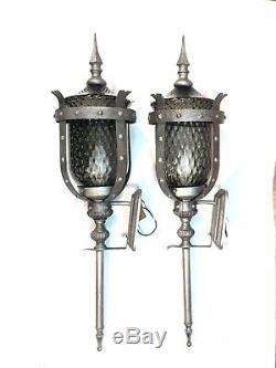 2 Vtg 30 MCM Medieval Gothic Wall Sconce Porch Light Lamp Smoked Optic Glass