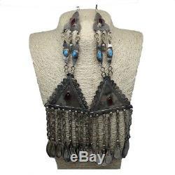 2x Pair Old Afghan Turkmen Tribal ATS Tassel Pendant Tribal German Silver, TK89