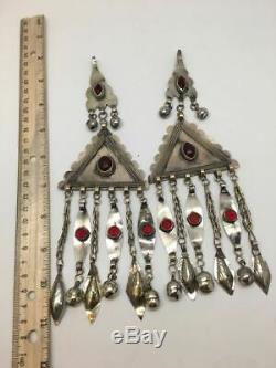 2x Pair Old Afghan Turkmen Tribal ATS Tassel Pendant Tribal German Silver, TK94
