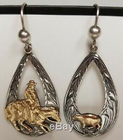 3 PAIR VINTAGE 80s VOGT WESTERN EARRINGS 14K GOLD FILL/STERLING SILVER