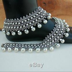 925 Silver Unique Rajasthani Anklet Bracelet Pair Handmade Vintage Wedding Gift