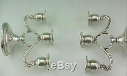 A Pair Of 3 Light Solid Sterling Silver Vintage Candelabra Revere Silversmiths