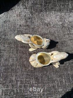 A Pair Of Silver Plate Vintage Frogs Pulling A Snail Shell With A Beatle On