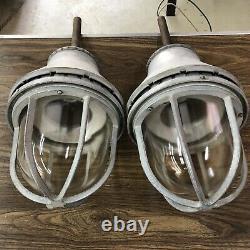A Pair Of Vintage Industrial Appleton AA-51 Explosion Proof Light Fixtures