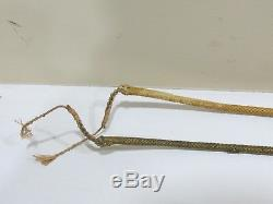 A Pair of Vintage Antique Sterling Silver & Rawhide Horse Riding Crop Whips