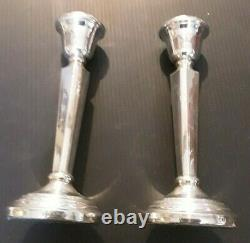 A Pair of Vintage Solid Silver Candlestick 14cm tall