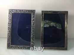 A Pair of Vintage Sterling Silver Solid Frames Repose Flowers