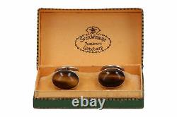 A pair of 1960 Gussi silver and tigers eye cufflinks Vintage Scandinavian