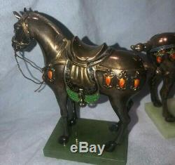 Antique Pair of Chinese 925 Sterling Silver Horse Figurines Enamel Cloisonne Vtg