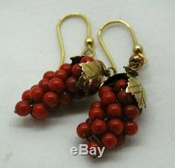 Antique / Vintage Pair Of Gold Gilded Silver And Coral Bunch Of Grapes Earrings