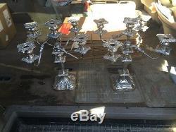 Antique Vintage Silver Plated 5 Lite Candelabra Pair