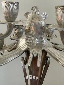Art Nouveau Silvered Candelabras Lamp Candle Holder Vintage Pair Figural