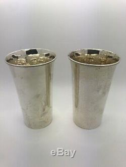 Arthur Stone Vintage Pair Sterling Silver Mint Julep Cups Hand Hammered No Mono