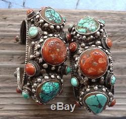 (B) Pair Vintage Sterling Silver Turquoise Coral Bracelets Cuffs Nepal Tibet