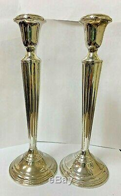 Cartier Pair Of Vintage Sterling Silver Weighted Candlestick Holders