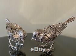 Christofle LUMIERE D'Argent Vintage Silver Pair Of Sparrow Bird Sculptures