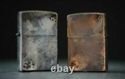 Custom Edc Unique Distressed Vintage Style Silver & Bronze Zippo Pair Set Of 2