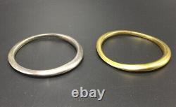 Donna Karan Vintage Pair Silver & Gold Tone Asymmetrical Bangle Bracelets 1980s
