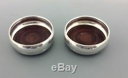 Excellent Vintage Pair Of English Silver Wine Coasters