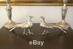 Exquisite Antique Vintage Sterling Silver Pheasants Pair Symbolic Love Wedding