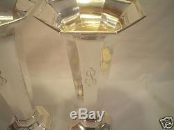 Fabulous Pair Vintage Reed & Barton Sterling Art Deco 12.5 Trumpet Vases