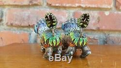 Fine Antique Chinese Silver & Enamel Fu Dog Statues Rare Old Vtg Foo Lion Pair