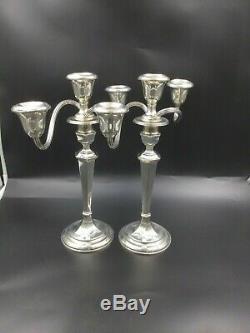 Fine Pair Vintage Gorham 925 Sterling Silver Convertible Candelabra Candlesticks