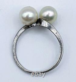 Fine Vintage Mikimoto 7mm Akoya Pearl Pair Sterling Silver Ring Size 6