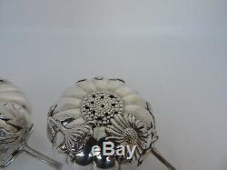 Finest Vintage Sterling Silver Salt & Pepper Shakers Chrysanthemum Pair W Box
