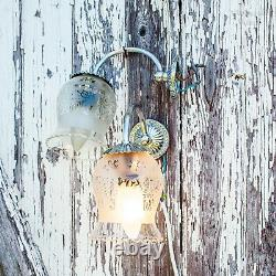 French Vintage 1950s Pair of Wall Sconce Lights Chrome with Etched Glass Shades