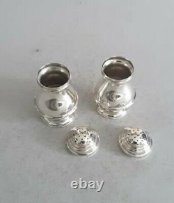 Good Pair Georgian Style Vintage Solid Silver Bun Pepperettes. Chest. 1937