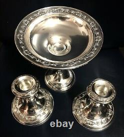 Gorgeous Vtg Pair Sterling Silver Gorham Strasbourg Candlestick Holders&Compote