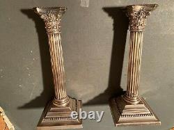 Great Pair of Vintage Gorham Corinthian Column Sterling Silver Candlesticks