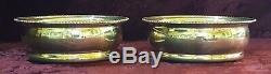 Hallmarked silver vintage Art Deco antique pair wine bottle coasters / holders