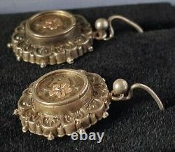 Hallmarked silver vintage Victorian antique pair of dangly earrings