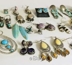 Huge Vtg Lot 925 Sterling Silver Earrings 20 Pair Native American Mex Turquoise