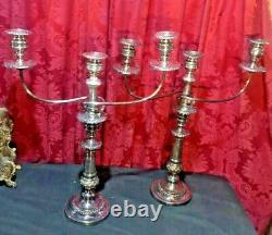Impressive Pair Vintage Antique 22 Silver Plate 3 Light Candelabra Candlestick