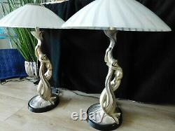 Italy Argenti Mid Century Vintage Art Deco Silver entwined Mermaids pair LAMPS