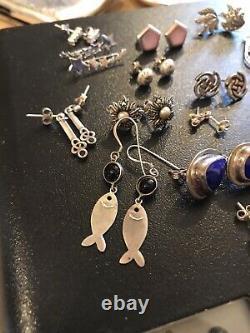 Job Lot Vintage Jewellery 925 Sterling Silver Earrings x16 Pairs Nice Lot