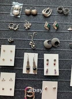 LARGE Vintage Sterling Silver Jewelry Lot / 44 pairs earrings