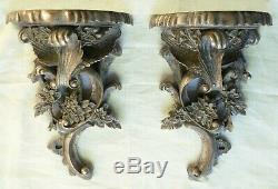 Large Mirror Pair of Silvered Corbel Wall Brackets